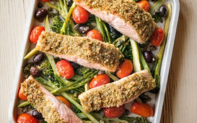 Salmon with Pesto Breadcrumbs and Roasted Tomatoes & Broccolini